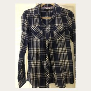 Banana Republic blue plaid blouse